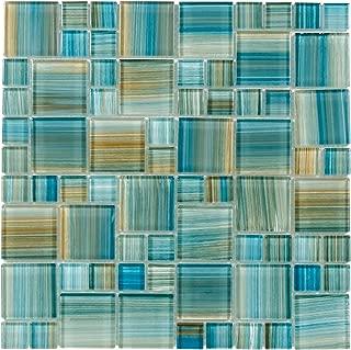 MTO0091 Modern Modular Blue Brown Aquamarine Blend Glossy Glass Mosaic Tile
