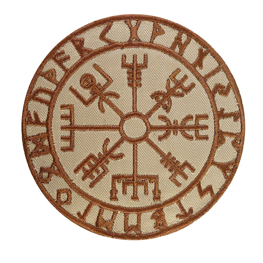 LEGEEON Desert DCU Vegvisir Viking Compass Norse Rune Morale Tactical Sew Iron on Patch