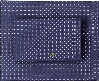 Lacoste 100% Cotton Percale Sheet Set, Dash Print, Vintage Indigo, Twin Extra Long