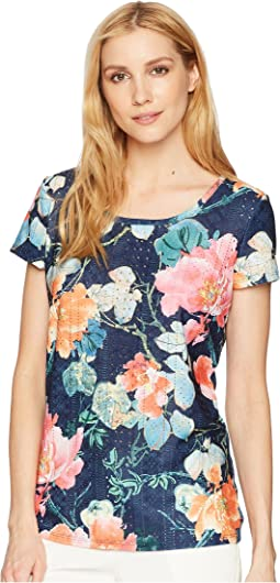 Kimono Jacquard Short Sleeve Scoop Neck Top