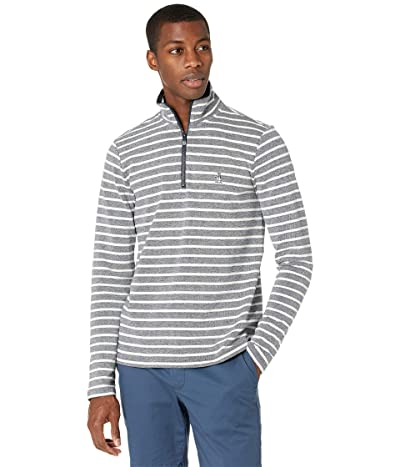 Original Penguin 1/4 Zip Striped Fleece Sweater (Dark Sapphire/Bright White) Men