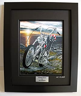 Custom Framed Motorcycle Art Print, Easy Rider Harley Davidson Chopper Seascape Limited Edition Wall Art, Signed Numbered with Certificate - Original Painting by John Guillemette