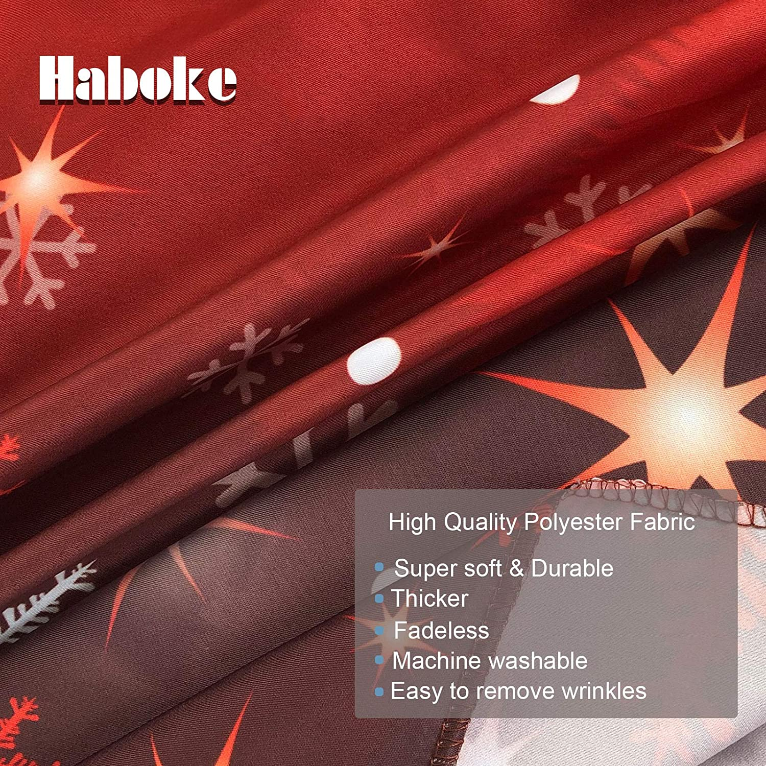 Haboke 10X8ft Durable//Soft Fabric Winter Red and Christmas Tree Backdrop for Photography Snowflake Bokeh Photo Background Banner Studio Props Christmas Party Decorations Supplies