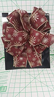 Holiday time premium Large 12 inch Matte Burgandy Burlap Type Bow with Silk Screened Gold Snowflakes and Gold Wire Beaded Edge with Two 18