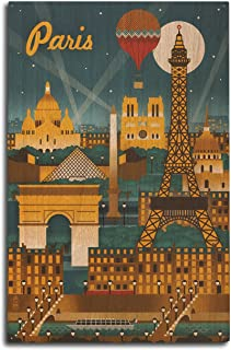 Lantern Press Paris, France - Retro Skyline (10x15 Wood Wall Sign, Wall Decor Ready to Hang)