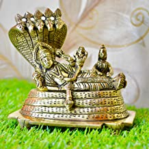 Aakrati Vishnu Laxmi Sitting On Sheshnag - Lord Narayan Rest in Vainkunt Dham Metal Idol 4.5 inch