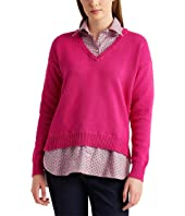 Layered Cotton V-Neck Sweater