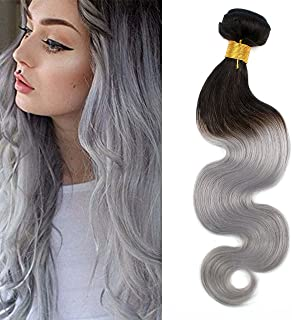 SHINING STYLE Remy Brazilian Human Hair Extensions Body Wave Ombre Hair Weave 100g/bundle Natural Black to Silver Grey (12 Inches)
