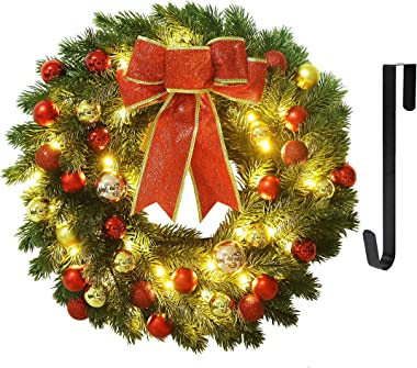 Juegoal 16 Inch Pre-Lit Christmas Wreath with Metal Hanger, Large Red Bow and Colored Balls, Battery Operated with Warm White