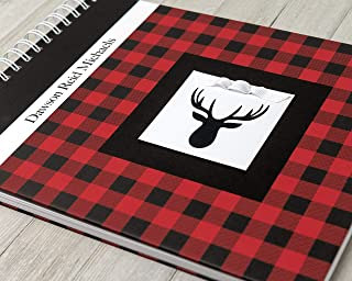 Baby Memory Book (6 Center Designs, 3 Colors) - Personalized Hard Cover First Year Album - Buffalo Plaid with Deer Antlers