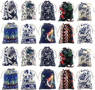 Elesa Miracle 20pcs Retro Cotton Canvas Jewelry Pouch Bag, Drawstring Coin Purse, Gift Bag Value Set
