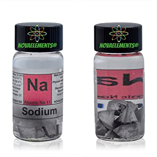 Sodium Metal Element 11 Sample Na, Pure 1 Gram 99,8% Pieces Under Mineral Oil Inside Labeled Glass Vial