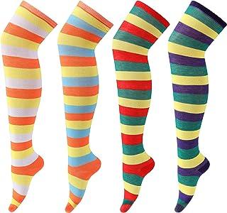 VAKAZA, Calcetines altos para mujer y niña a rayas sobre la rodilla, paquete de 4 pares