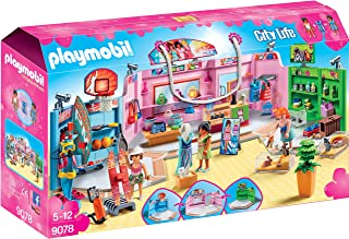 Playmobil 9078 City Life Shopping Plaza with Sports/Pet and Clothing Retailers Toy Set, Multi- Colour