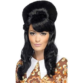 Pantomime dame amy winehouse noir beehive perruque accessoire robe fantaisie