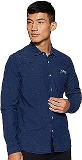 CHEROKEE Men's Solid Regular fit Casual Shirt (400021350984_Blue-Ds L)