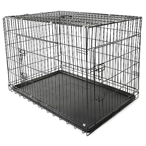 TRESKO® Jaula de Transporte Plegable para Perros (XXL 121 x 76 x 82 cm