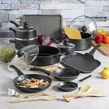 Ecolution Easy Clean Non-Stick Cookware, Dishwasher Safe Pots and Pans Set, 20 Piece, Black