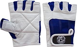Nibra Gym Wear USA Gym Gloves White/Blue with Wrist Closure for Man & Women, Padded Workout Crossfit, Weightlifting,Biking.
