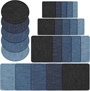 Naler 25 Pieces Iron on Denim Patches for Clothing Jeans Jacket Cotton Jeans Repair Kit Art Craft Decoration Ornaments (3 Shapes, 5 Sizes & 5 Colors)