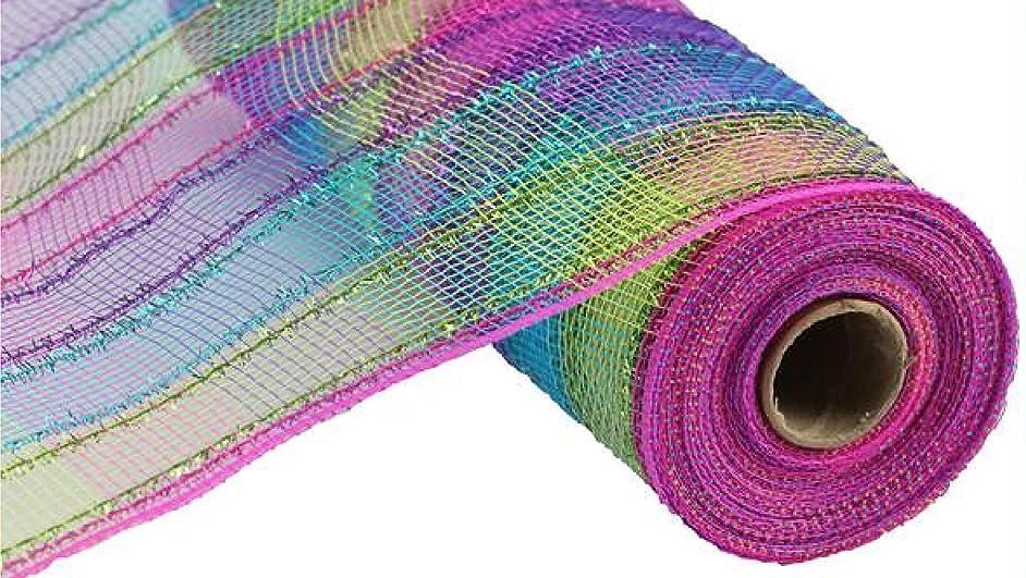 Tinsel Plaid Check Deco Poly Mesh Ribbon - 10 inch x 30 feet (Fuchsia, Purple, Turquoise, Lime)