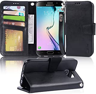 Arae Case Compatible for Samsung Galaxy S6 - [Wrist Strap] Flip Folio [Kickstand Feature] PU leather wallet case with ID&Credit Card Pockets (Black)
