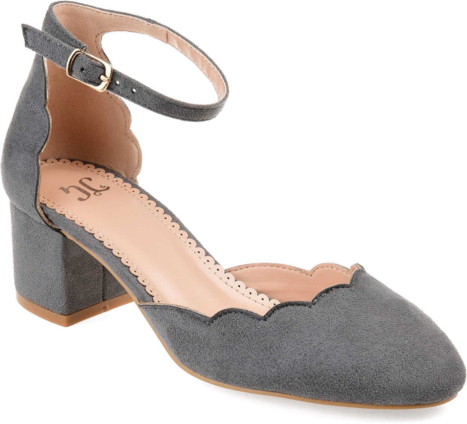 Journee Collection Womens Scalloped Ankle Strap Pumps