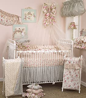 Cotton Tale Designs Tea Party 8 Piece Nursery Crib Bedding Set - 100% Cotton Shabby Chic - Soft Colorful Vintage Floral and Paisley with Ruffle and Rose Bud Fur - Baby Shower Gifts for Girls