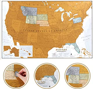 Maps International Scratch Off Map of The US – USA Wall Map – Scratch Off – Detailed Cartography - US States - National Pa...