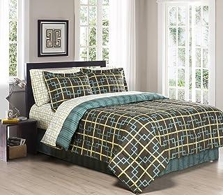 South Bay FULL/QUEEN Adler Printed Reversible Down Alternative Comforter Set, Chocolate/Blue/Gold