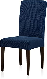 Subrtex Jacquard Dining Room Chair Slipcovers Sets Stretch Furniture Protector Covers for Armchair Removable Washable Elastic Parsons Seat Case for Restaurant Hotel Ceremony, 4 Pieces, Blue