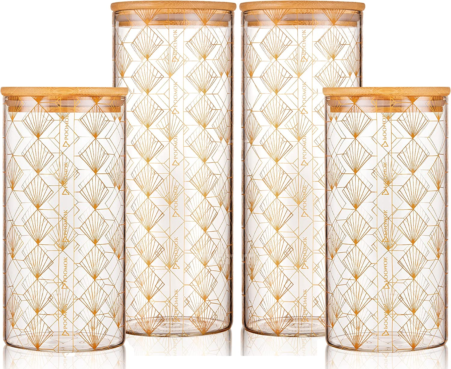 Max 45% OFF Large Glass Food Storage specialty shop Airtight Canister Bamboo Cont Lid with