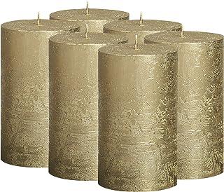BOLSIUS Rustic Full Metallic Candles - Set of 6 Unscented Pillar Candles - Candles with a Full Metallic Coat - Slow Burnin...