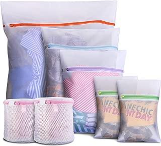 DMplus 7PCS Bolsa Lavadora, Bolsas para Lavandería de Malla con Cremallera. 5 Tamaños para Ropa Interior, Camisetas, Pantalones, Sujetadores. Bolsas de la Colada para Proteger y Organizar Ropas.