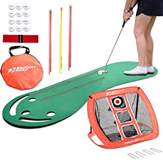 Rukket Putting Green & Golf Chipping Net Bundle | Indoor & Outdoor Practice Greens | Mats for Home & Office | Portable Golfing Target Accessories | Alignment Sticks