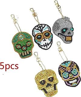 Wuyee 5PCS Bricolaje Completo Especial en Forma de Diamante Pintura cráneo Llavero Completa Taladro Diamantes de imitación del Anillo dominante