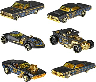 New 1:64 Hot Wheels 50th Anniversary Black & Gold Collection - Bone Shaker, Twin Mill, Rodger Dodger, Dodge Dart, Impala & Ford Ranchero Set of 6pcs Diecast Model Car By HotWheels
