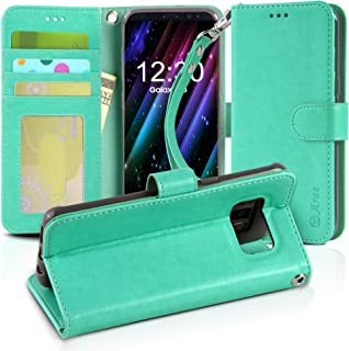 Galaxy S8 case, Arae [Wrist Strap] Flip Folio [Kickstand Feature] PU Leather Wallet case with ID&Credit Card Pockets for Samsung Galaxy S8 (Green)