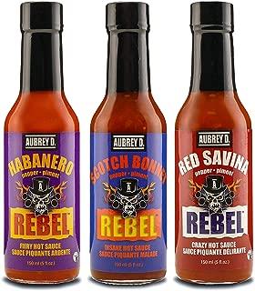 Aubrey D. Hot Sauce Gift Sets, Sampler Pack, Red Savina Pepper, Habanero Pepper & Scotch Bonnet Pepper Hot Sauce Set Of 3 Bottles 5 Oz Each