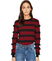 RED VALENTINO - Striped Stretch Viscose & Rouches Top