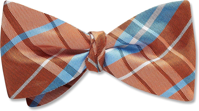 Mansfield Sienna Orange Plaid, Men's Bow Tie, Handmade in the USA