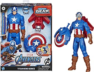 Hasbro Marvel Legends Series Avengers - Captain America (Action Figure 30cm con Blaster Titan Hero Blast Gear)