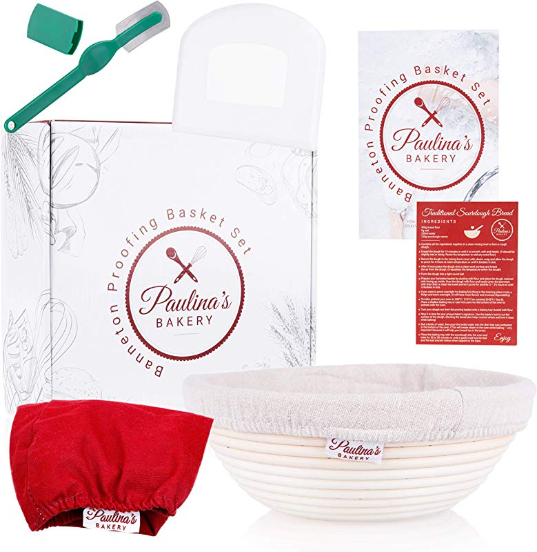 Paulina S Bakery Original 9 Inch Banneton Proofing Basket Set Premium Dough Proofing Baskets Baking Bowl For Bread Decorative Liner For Serving Scraper Lame Sourdough Starter Recipe Gift Box