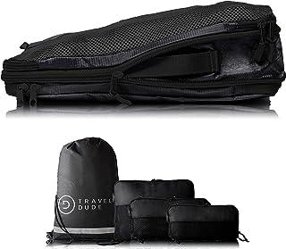 Organizador de Maletas con Bolsas de Compresión para Equipaje | De Botellas de Plástico Recicladas | Bolsas Organizadoras Maleta | Easy Travel | Ultra liviano (Negro, 4 piezas)