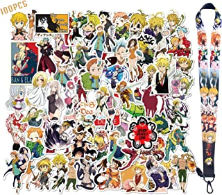 100PCS The Seven Deadly Sins Stickers + 1 Lanyard Anime Sticker Cute Removable Waterproof Vinyl Stickers for Kids Teens Ad...