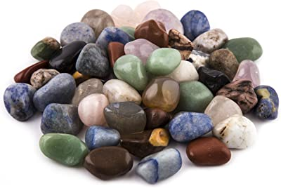 """Crystal Allies Materials: 2lb Tumbled All Natural Assorted Stone Mix from Brazil - ~3/4"""""""