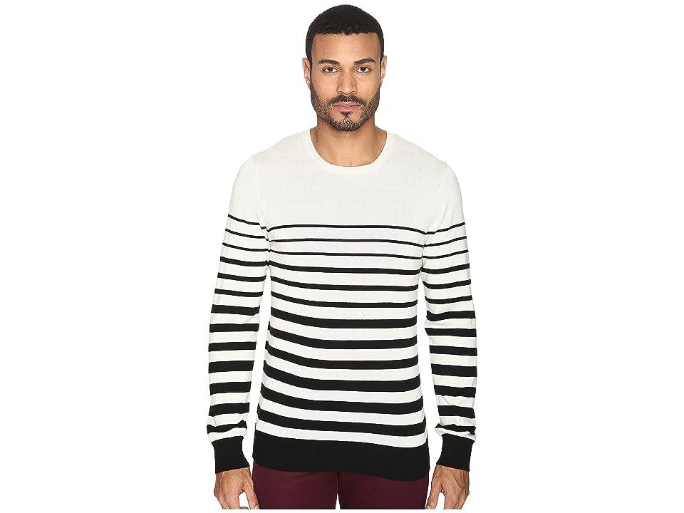 AG Adriano Goldschmied Tanner Crew Neck Sweater (Trench Stripe City Fog Black) Men
