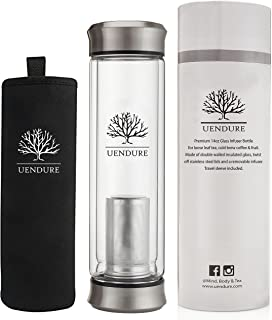 UEndure Glass Tea Infuser Bottle + Strainer | 14oz Tea Tumbler – Loose Leaf Tea..
