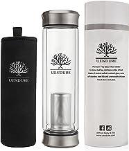 UEndure Glass Tea Infuser Bottle + Strainer | 14oz Tea Tumbler for Loose Leaf, Herbal,Green Tea & Matcha Shaker, Eco-Friendly Cold Brew Coffee Mug + Fruit Infusions. Travel Sleeve!