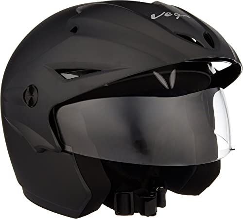 Vega Cruiser CR-W/P-DK-M Open Face Helmet with Peak (Dull Black, M)